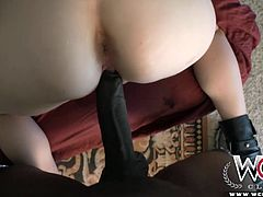 This blonde skinny bitch gets pounded hard in her tight first interracial timer pussy.