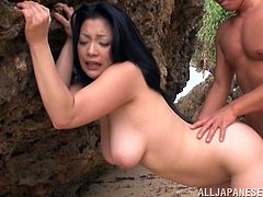 Naughty Mature Asian with big natural tits and long hair getting her hairy pussy fingered sensually before getting smacked hardcore