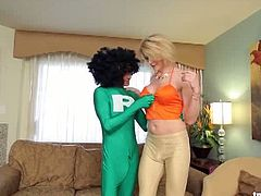 Busty shemale Delia Delions needs sexual help. Super Ramon shows up and helps her by barebacking her with his really long cock. He has a funny, green costume on.