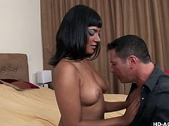 Busty brunette milf sucking and fucking a big cock