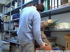 This slutty secretary gets found in the stockroom by a work colleague and gets fucked