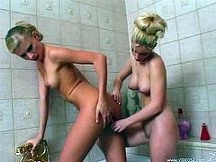 Lesbians with natural tits fuck using toys in the bathroom
