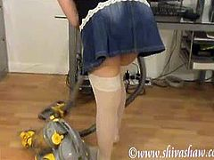 Watch Shiva a real natural busty British Indian hoovering. Loads of downblouse and up skirts here