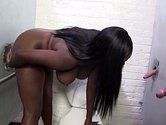 Busty and fat black jade Pheona Monroe got doggy fucked by white dude through glory hole