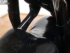 Two hot lesbians take turns being on top, either fucking or getting fucked with a strap on.