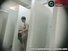 Voyeur hidden camera women take shower at public swimming pool