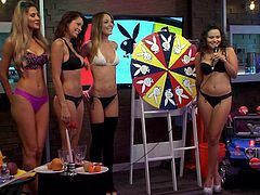 The playboy morning show has a bunch of sexy girls in the studio today. They play a fun game with the guest today. In the Wheel of Fantasy the girls take a spin to reveal what their deepest desires are.