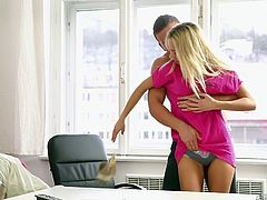 A slutty blonde bitch lets herself fall prey to lusty desires in the company of her attentive partner, who enjoys the taste of her delicious pussy. Her naked body laying on the table at his disposal, the horny guy makes Victoria horny and eager to play dirty sexy games. Click to watch the kinky details!