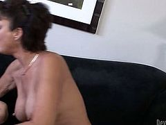 Massive dong invades wet pussy of lustful brunette milf