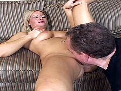 Enchanting blonde cowgirl with big natural tits getting her shaved pussy licked lusciously before getting smacked hardcore doggy style