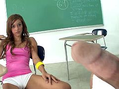 Skinny teen with small tits enjoying a hardcore fuck in a classroom