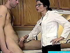 Classy mature milf wanks and sucks dude in the kitchen