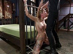 If you're a fan of bdsm hardcore sex scenes, feel free to watch a blonde bitch tied up strongly and treated aggressively. The guy is using a vibrator to make this dirty game more exciting. Click to see the slutty babe sucking his dick down to the balls in a crazy mouth fuck.