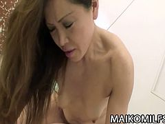 Hot japanese MILF sweetie Yasuyo Kawada is naked and got toyed her unshaved pussy making her super wet. She then got fucked on it making her more dripping wet.