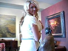 Blonde hottie Alison Angel gives an interview in reality video