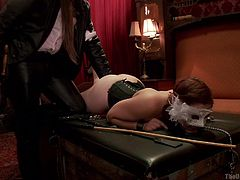 As you probably know, kink describes best, what goes on at the Upper floor. The bitch hanging from the ceiling is strongly tied up. Another slut lays on the table with her legs widely spread, to allow access to her horny pussy. Click to watch Penny and Dani in an erotic scene, implying pussy licking. Enjoy the view!