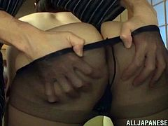 chubby japanese girl with natural tits and in thong gets her nipples played with then her pussy thrilled using vibrator blowjobs and drilled
