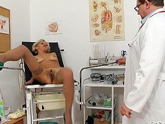 Sava is at the doctor getting checked out. The doctor checked her pressure, then he asks to spread her long legs wide, to get her pussy swabbed and fingered. I wonder, if this guy is really a doctor, or some perv, who fulfils his sexual fantasies, by playing with these old women's pussies.