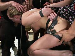Do you enjoy the kinky scenarios, where a nasty bitch has been bonded and then, humiliated in public? If yes, see how a blonde slut is encouraged to suck a guy's cock in a crazy deep throat job. There are also clear images of her horny pussy, while rubbed and the crowd gathering to watch it!