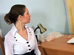 They said that she gets the job as long as she passes the physical exam. She is asked to take off her clothes as a man takes her measurements. She is given a speculum and told to insert it into her vagina. Obediently, she does everything they say just to get the job.