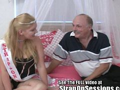 An old sissy pervert is meeting for the first time Bobbie the StrapOnPrincess. She makes him take off his clothes while she puts on her strapon. She makes him take off her clothes ass well. Bow before the StrapOnPrincess!