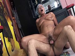 Watch my slutty granny, in her shower cap, get her hairy pussy pounded by a young stud's hard cock in this free tube video.