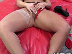 Blond mature whore with fake boobs  Alura Jenson jerks off BBC with her dirty feet