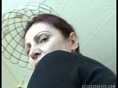 Watch how Libor talks to this Czech milf and cajole her to suck his dick