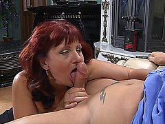 Redhead mature russian chubby fuck ass with her young lover