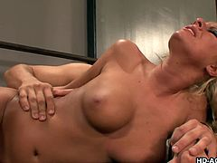 Busty blonde milf Riley Evans gets banged hard