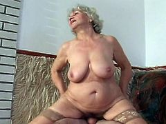 Watch this horny granny sucking and fucking a young cock.