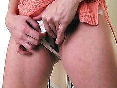 With gigantic hooters and shaved twat with soaking wet cunt goes solo