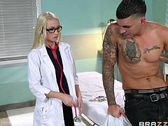 Even before she walks in, to see the patient, this busty blonde doctor is so horny. She is playing with her pussy and when she checks on the patient, she needs to give him a nice handjob, and suck his big cock.