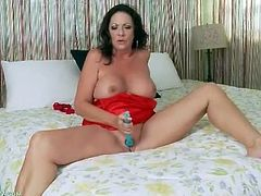 Solo mature brunette in sexy red satin lingerie