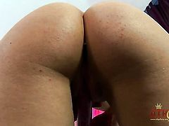 Blonde asian Bibi Noel finds herself horny as hell and takes toy in her love hole with passion