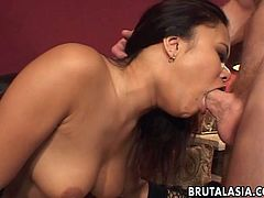 Delicious Asian hottie sucks on her man's large thick cock. He fucks her big tits and stuffs her wet twat before drilling her delicious round ass.