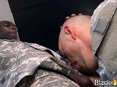 This white private must prove to his Sargent that he is fit for the army by sucking on his big black dick. He also has to take the Sargent's BBC inside his tight butt hole.