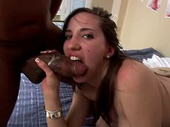 Adorable pornstar with long hair yelling while being logged hardcore in interracial sex