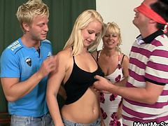 What kind of a fucked up family is that? Just follow this story exposing what they do for fun, and you'll understand. The guy and his mother are thinking hard: they gotta give the father a birthday surprise gift. Well, here's what they come up with. They blindfold him, bring him the guy's girlfriend whom he adores, and the three have steamy threesome sex! This is some hard shit to handle, and the boyfriend watches the madness for a while, and then rushes out to get drinks for everybody. We don't know about other people, but he could definitely use one.