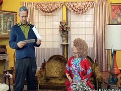 Granny and her old man having a great sloppy blowjob as they parody some famous TV show. Watch her lovely mouth filled in with a huge hard cock until he cums.
