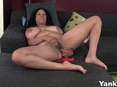 Busty Milf amateur Shannon is in love with her fingers and pussy decided to mash it in the couch waiting for the explosive orgasm. She enjoys every pleasure it brings every second.