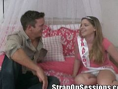 Female domination that defies all the restrictions as naughty blonde Candi Apple uses all her force in fucking stud with strapon.