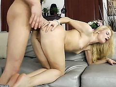 Blonde cant wait to be ploughed in the ass by her horny fuck buddy