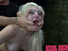 This dirty blonde is bent over and being fucked so hard by her dominating boyfriend. He pounds her hard from behind and pulls her cheeks open with his fingers. The dirty whore is reluctant to suck cock, so he shoves it down her throat.