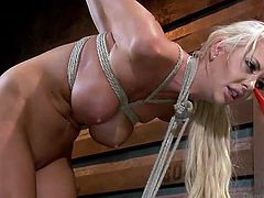 This dirty slave is tied up tightly with rope, by her dungeon master, which has her confined. She gets fucked hard and deep from behind, while she is in bondage, and the master waves an electric prod in front of her face, to taunt her.