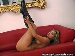 Nylon neglige and black pantyhouse fit so perfect on this blonde chick with erotic body!