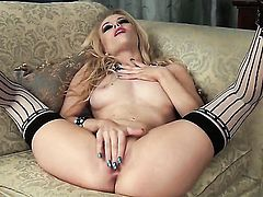 Michelle Moist is horny as hell and fucks herself with sex toy with wild enthusiasm