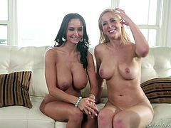 These two cute ladies are looking amazing as they lay on the bed completely in the nude. The blonde and redhead lesbian feel each other's supple skin against each other. The blonde sweetie lets out a yell as Siri grabs her boob.