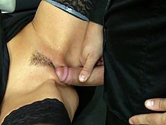 Visit official Tainster's HomepageSlutty brunette, Celine Noiret, enjoys fucking her boss and having him devour her cramped pussy in really nasty manners