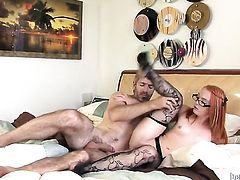 Steven French whips out his dick to fuck juicy Dani Jensens mouth
